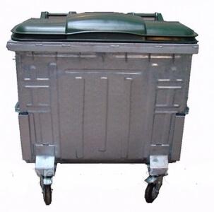 Контейнер для мусора оцинкованный 1100 литров с плоской крышкой