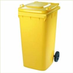 Бак для мусора пластиковый, желтый, 120 литров