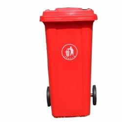 Бак для мусора пластиковый, красный, 240 литров